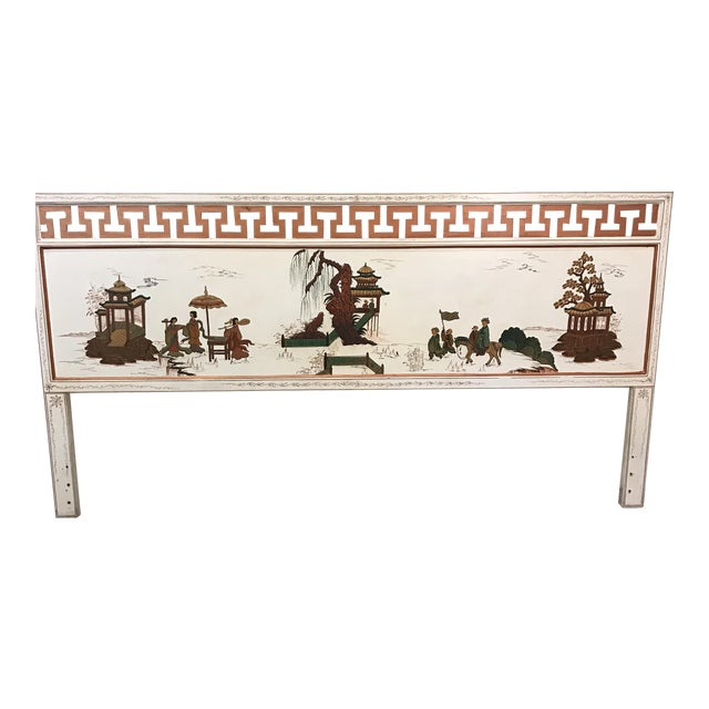 Hollywood Regency White Lacquered Headboard - Image 1 of 11