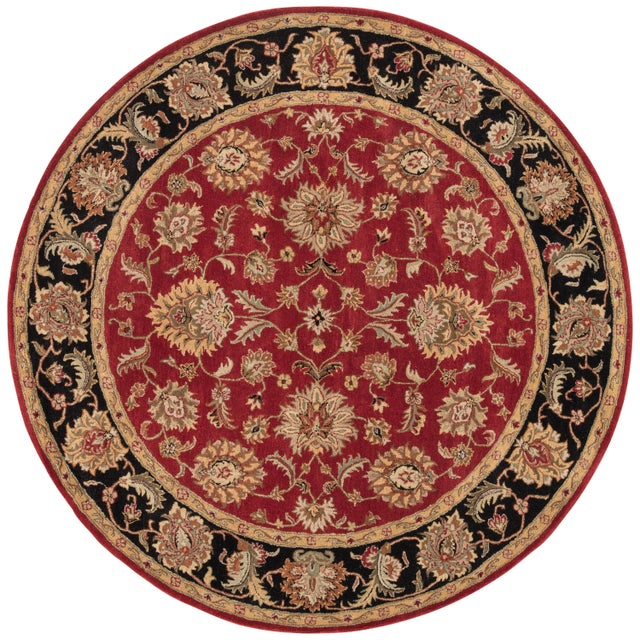 Jaipur Living Anthea Handmade Floral Red Black Round Area Rug 8'X8' For Sale In Atlanta - Image 6 of 6