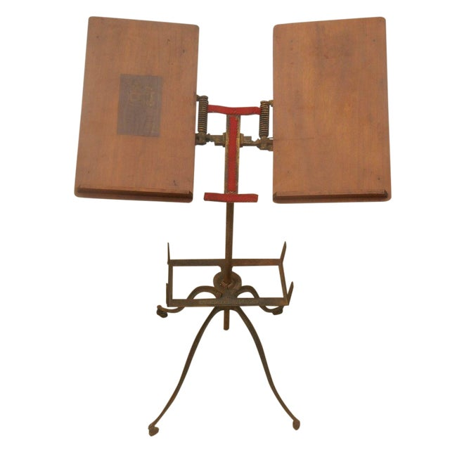 Antique Victorian Wrought Iron Book Stand - Image 1 of 7