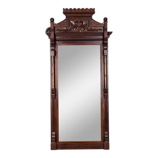 Highly Carved Mahogany Wood Framed Hanging Wall Mirror For Sale