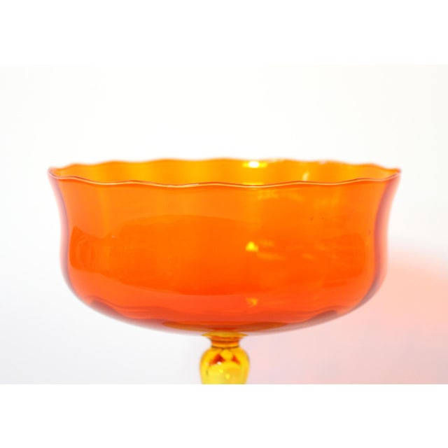 Over-sized hand-blown glass compote in vibrant orange and yellow. Purchased from a New Orleans estate sale with other...