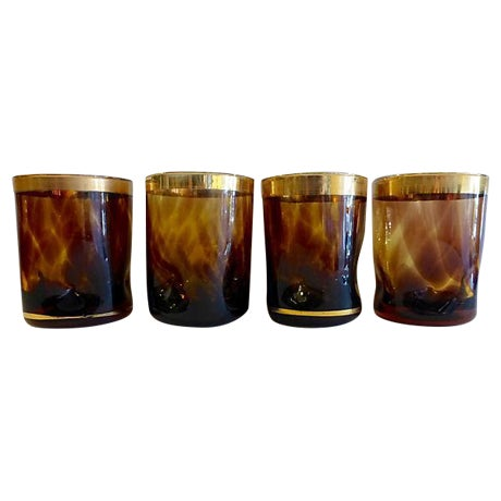 Mid-Century Amber Brown Gold Lowball Glasses - S/4 - Image 1 of 5