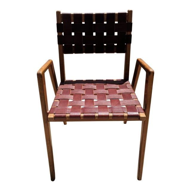 1950s Mel Smilow Woven Leather Dining Room Chair For Sale