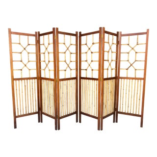 Pair Wood/Bamboo/Leather Divider For Sale