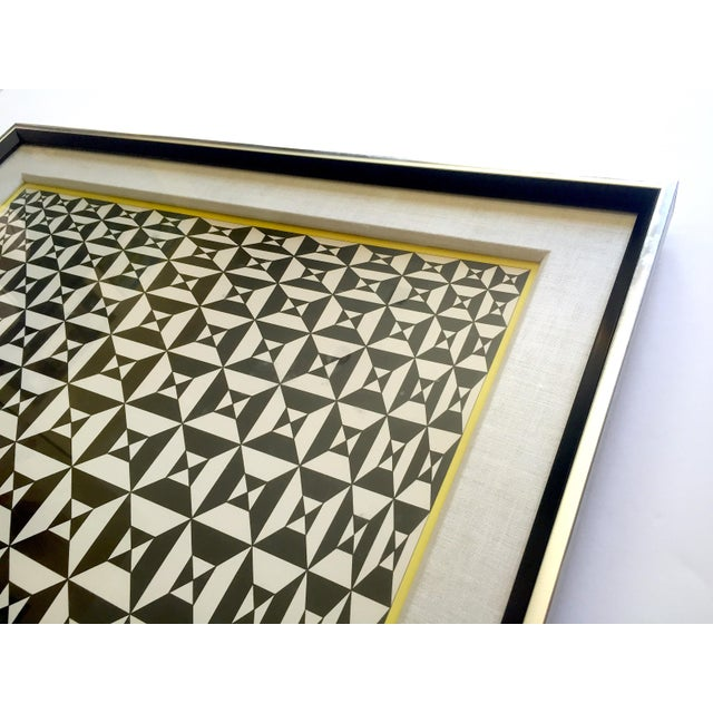 """1960s Edna Andrade Rare Vintage 1969 Mid Century Modern Framed Op Art Lithograph Print """" Black Diamond """" 1967 For Sale - Image 5 of 13"""