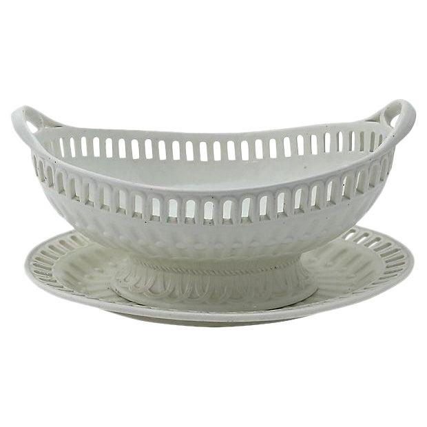 Antique Creamware Basket & Tray - 2 Pieces For Sale