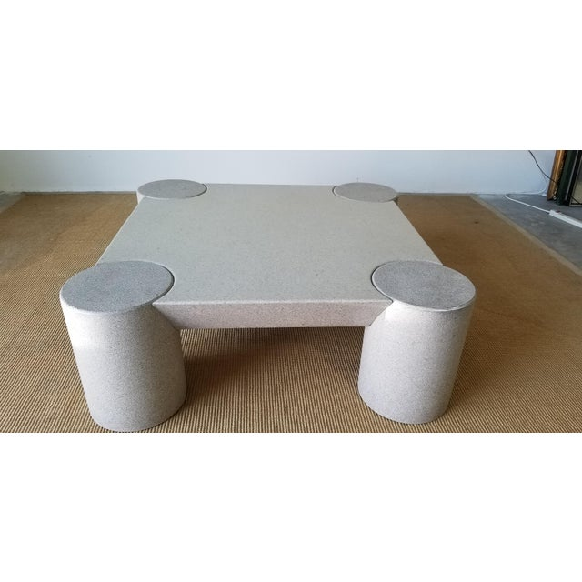 Gorgeous Italian design Karl Springer style postmodern light gray lacquer wood decorative square coffee table. C,1980's....