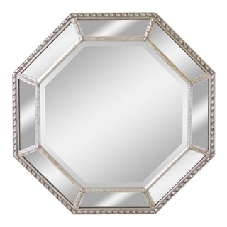 Friedman Brothers Octogonal Multi Panel Silver Mirror For Sale