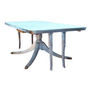 19th/20th C. Shabby Chic/Cottage Blue Painted Solid Mahogany Dining Table For Sale