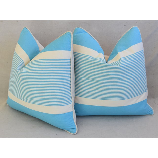 """Blue French Blue & White Nautical Striped Feather/Down Pillows 22"""" Square - Pair For Sale - Image 8 of 13"""