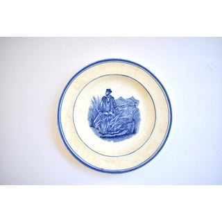 Antique French Blue & White Sugar Canes Transferware Plate Preview