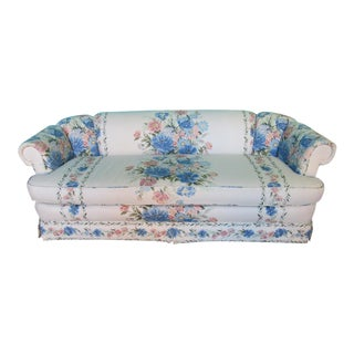 Sherrill Furniture Small Sofa Custom Upholstered in Designer Floral Pattern For Sale