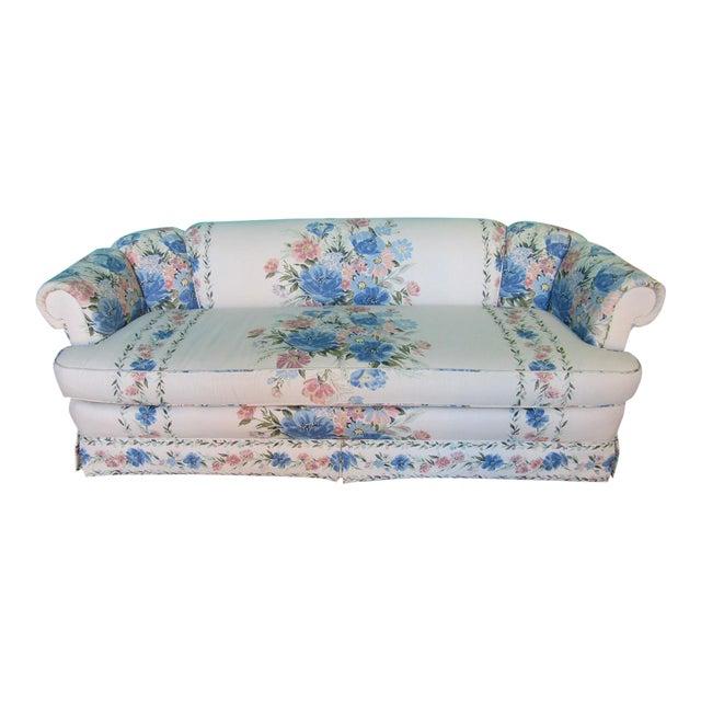 Sherrill Furniture Small Sofa Custom Upholstered in Designer Floral Pattern For Sale