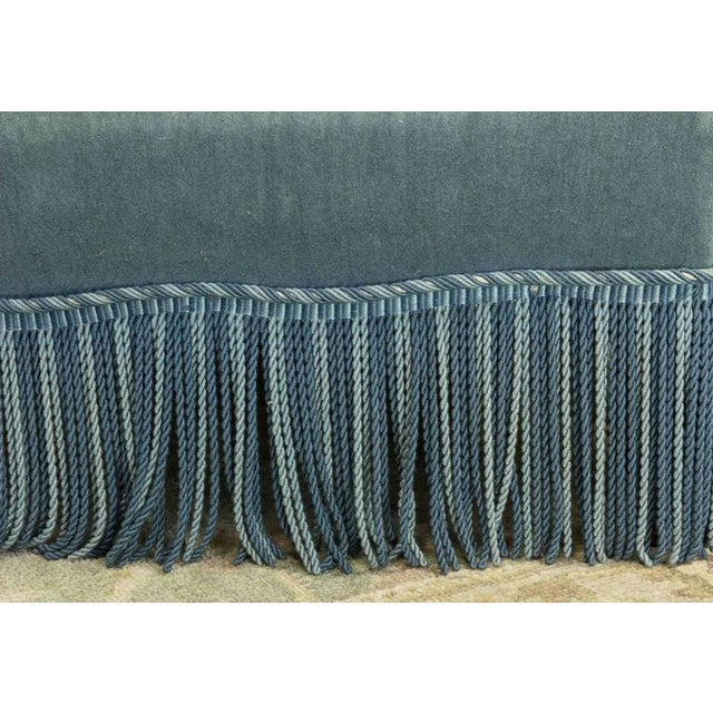19th Century French Faded Blue Velvet Armchair - Image 9 of 11