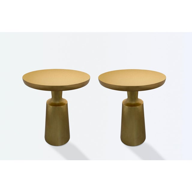 Holly Hunt Gold Peso Side Tables - Pair For Sale - Image 9 of 10