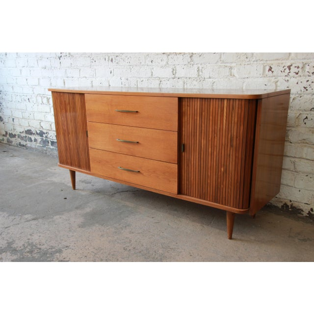 Brown Mid-Century Modern Tambour Door Sideboard Credenza with Glass Front Hutch Top For Sale - Image 8 of 11
