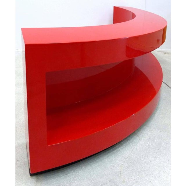 Art Deco Art Deco Curved Red Lacquer Bookcase by Paul Laszlo For Sale - Image 3 of 9