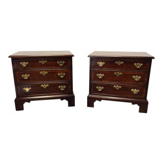 WHITE FURNITURE CO Banded Mahogany Chippendale Nightstands Bedside Chests - Pair