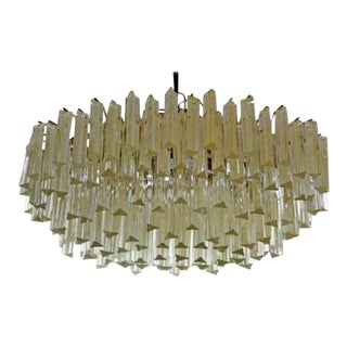 Mid Century Modern Camer Murano Italian Gold Flecked Glass Brass Chandelier 1970s For Sale