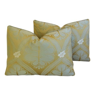 "Lee Jofa Silk Brocade Feather/Down Pillows Pair 22"" X 16"" - Pair For Sale"