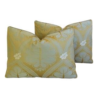 "Lee Jofa Silk Brocade Feather/Down Pillows Pair 22"" X 16"" - Pair For Sale"