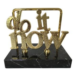 "Mid-Century Modern Black Marble ""Do It Now"" Letter Holder For Sale"