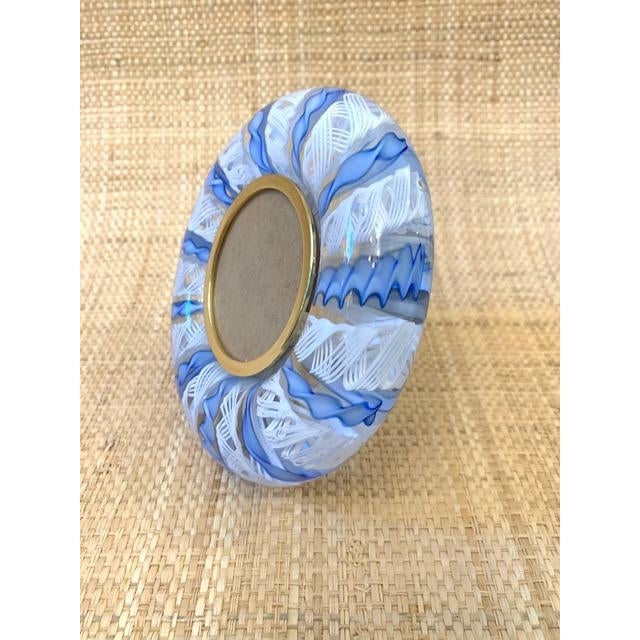 Mid-Century Modern Mid Century Murano Italian Blue Ribbons Frame For Sale - Image 3 of 8