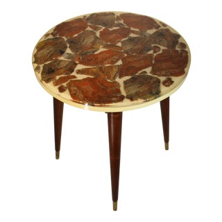 Bespoke Fossilized Marble Tony Duquette-Style Round Side Table For Sale