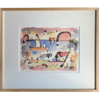 Contemporary Cuban Watercolor of Landscape With Boat by Noa, Luis Rodriguez For Sale