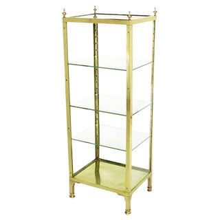 1930s Brass and Glass Open Three-Shelf Vitrine For Sale