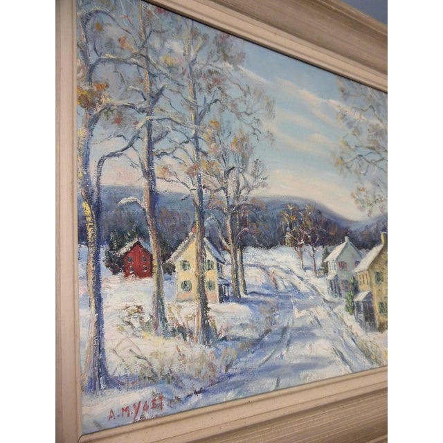 """1950s """"Easton Highway in Pennsylvania"""" Rural Village Poconos Painting by Ann Yost For Sale - Image 5 of 6"""