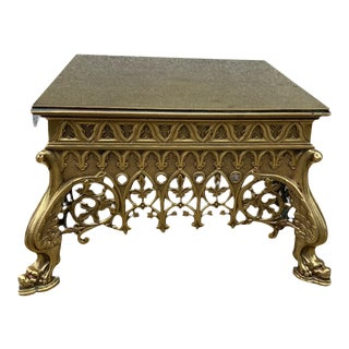 Vintage Asian Style Solid Brass Footstool For Sale