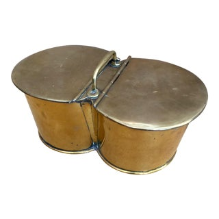 English 19th C Brass Fishing Bait Bucket For Sale