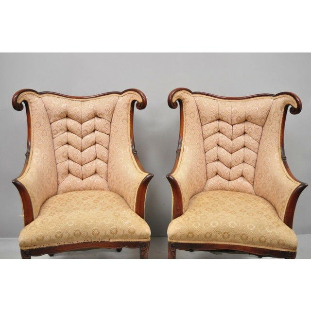 French Early 20th Century Vintage Hollywood Regency French Style Mahogany Armchairs- A Pair For Sale - Image 3 of 13