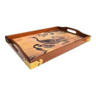 Wooden Duck Tray W/ Brass Corner Brackets For Sale