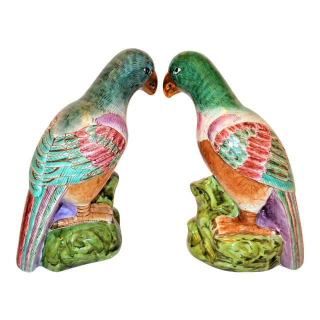 (Final Markdown) Green Majolica Parrot Figurines - a Pair For Sale