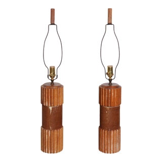 1950s Russel Wright Style Cow Hide Wrapped Cerused Oak Column Table Lamps - a Pair For Sale