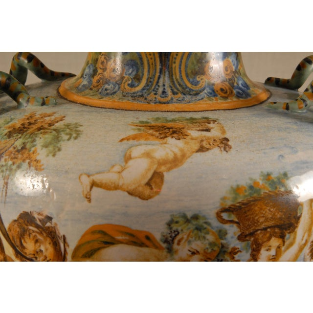 Italian Majolica Serpentine Handle Mythological Vase For Sale - Image 10 of 13