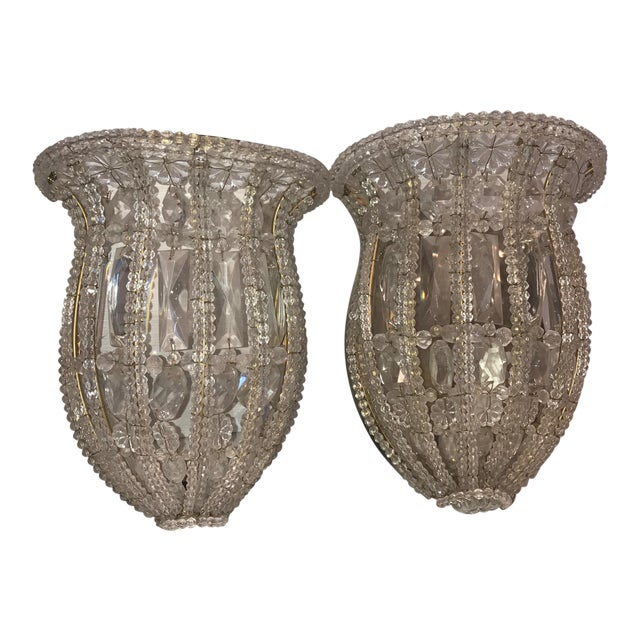 French Crystal Wall Plate Sconces - a Pair - Image 1 of 3