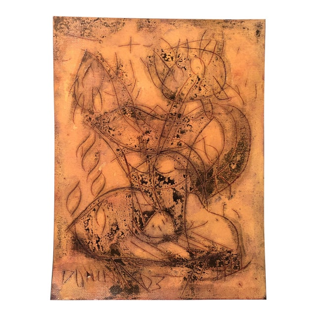 Original Vintage Peter Duncan Nude Abstract Encaustic Painting For Sale