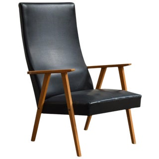 Swedish Mid-Century Modern High Back Lounge Armchair For Sale
