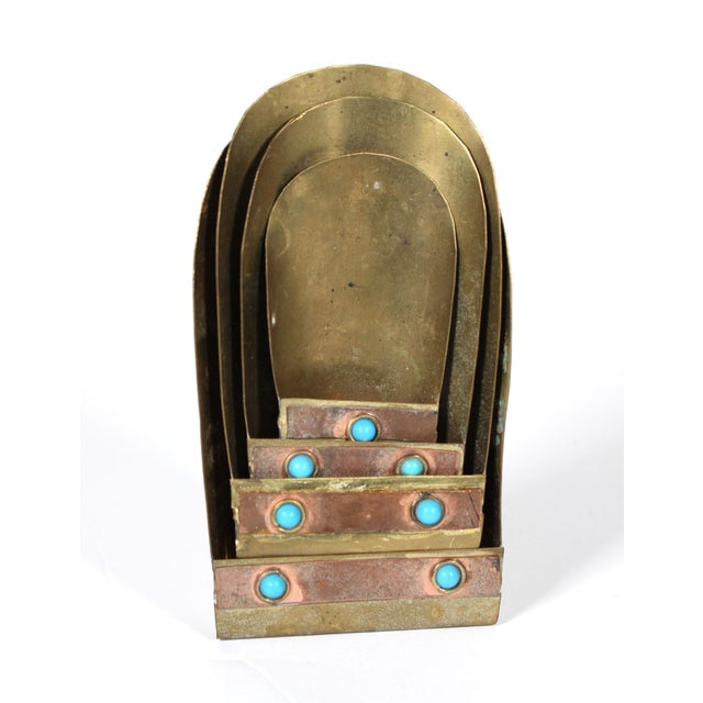 Tribal Persian Brass & Copper Measuring Scoops With Faux Turquoise Accents, Set of 4 For Sale - Image 3 of 5