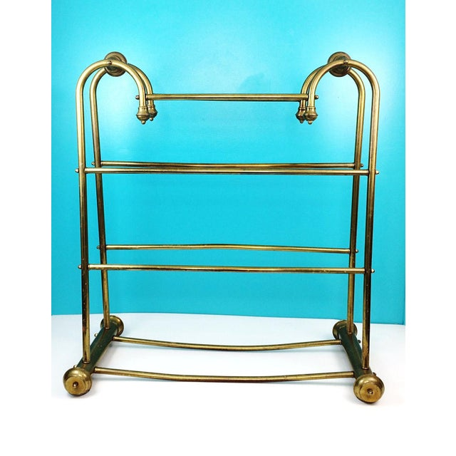Hollywood Regency Brass Towel Quilt Floor Stand Rack - Image 2 of 6