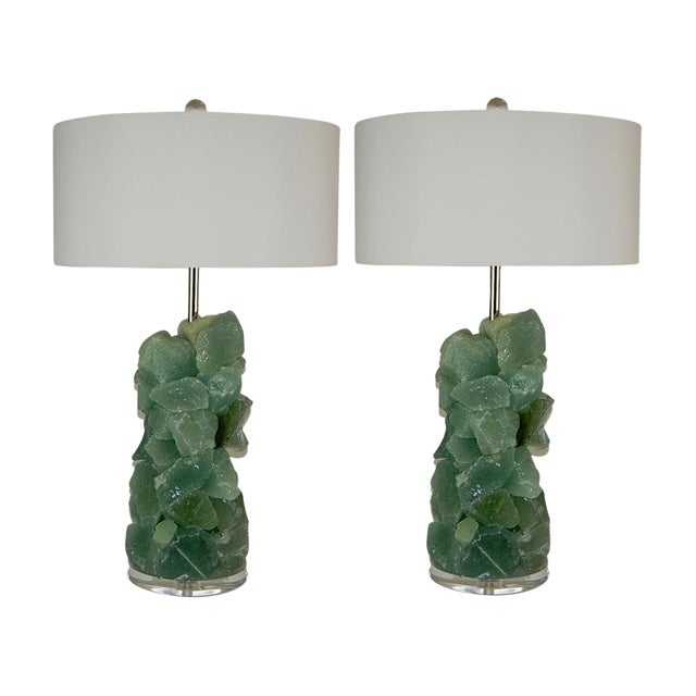 Glass Rock Table Lamps by Swank Lighting Sea Foam Green - a Pair For Sale