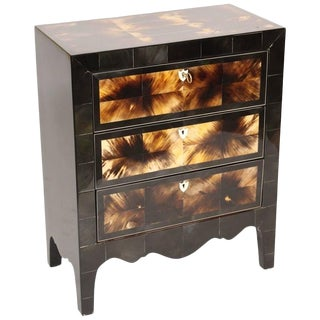 Modern Cow Horn and Lacquered Three-Drawer Chest of Drawers For Sale