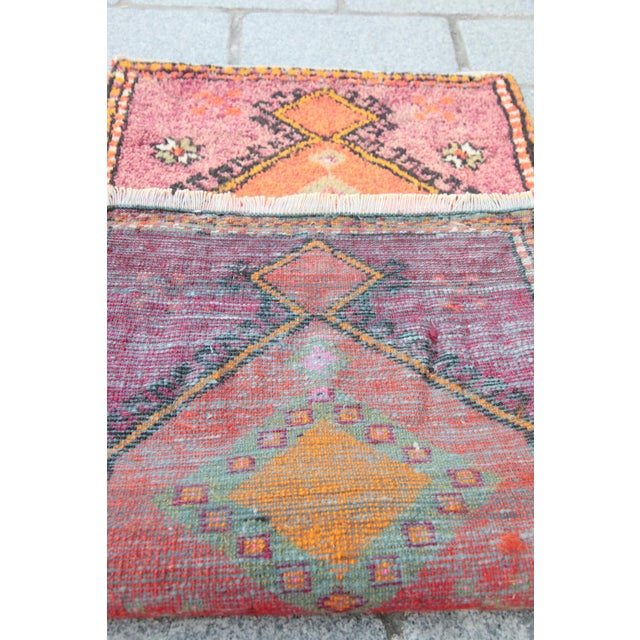 Vintage Turkish Orange Tone Wool Carpet - 3' 8'' X 1' 8'' - Image 10 of 11