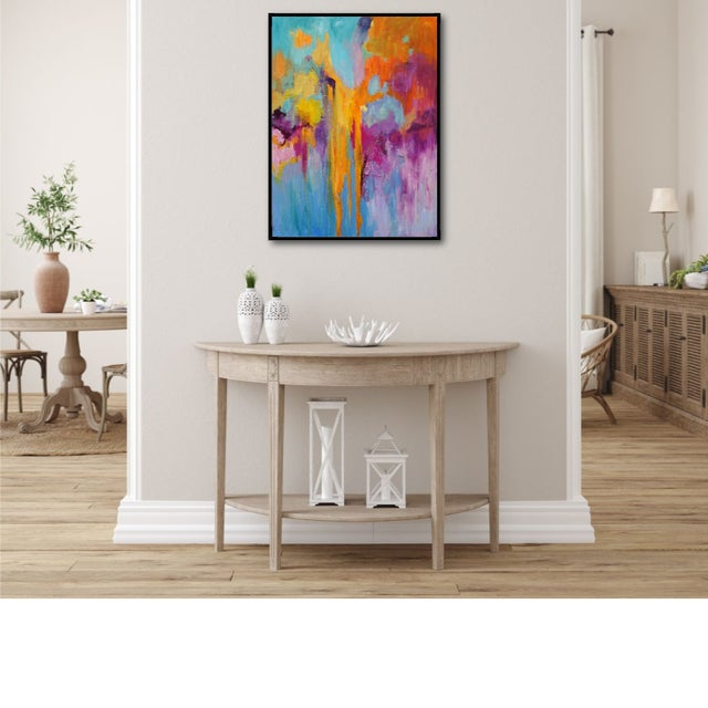 This joyful, brightly colored painting exudes energy and a sense of tropical flowers and fruits. The orange cascading down...