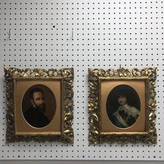 1920's Italian Portrait Oil Paintings in Rococo Frames - a Pair For Sale