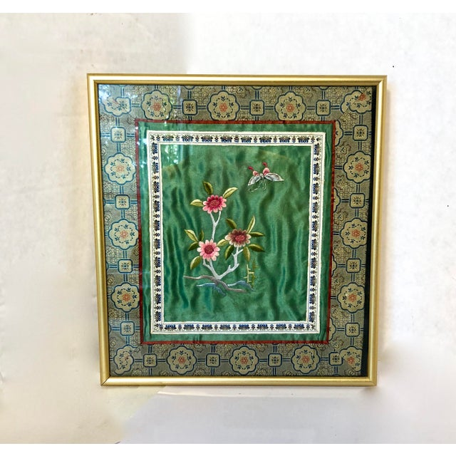 1970s Vintage Chinese Framed Silk Embroidery For Sale - Image 5 of 5