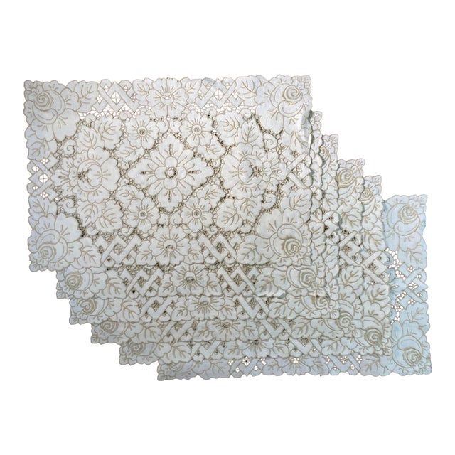 Vintage Ivory Linen Embroidered Placemats- Set of 6 For Sale
